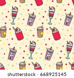 beverages doodle background | Shutterstock . vector #668925145