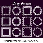 set of openwork round and... | Shutterstock .eps vector #668929522