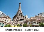 Stock photo replica eiffel tower in las vegas with clear blue sky 66894103