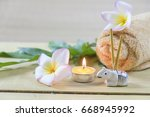 spa concept spa towels and...   Shutterstock . vector #668945992