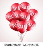 bunch of red vector balloons... | Shutterstock .eps vector #668946046