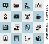 set of 16 editable bureau icons....