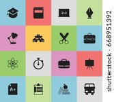 set of 16 editable education... | Shutterstock .eps vector #668951392