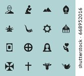 set of 16 editable faith icons. ... | Shutterstock .eps vector #668952016