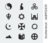 set of 12 editable faith icons. ... | Shutterstock .eps vector #668952655