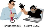 cyber security specialist... | Shutterstock .eps vector #668958652
