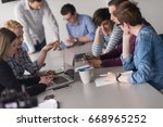 business team meeting in modern ... | Shutterstock . vector #668965252