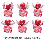 vector set of emblems with red... | Shutterstock .eps vector #668972752