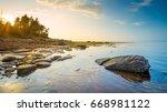 low tide along nova scotia's...   Shutterstock . vector #668981122