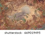 aged copper plate texture with... | Shutterstock . vector #669019495
