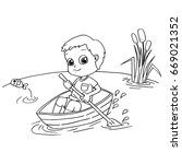 Little Boy Rowing A Boat ...