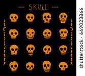 hand drawn skull set. stock...   Shutterstock .eps vector #669023866
