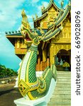 golden naga statue  thailand.