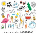 set of summer doodle on white... | Shutterstock . vector #669028966