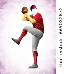 pitch baseball player | Shutterstock .eps vector #669032872