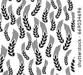 wheat seamless pattern. vector... | Shutterstock .eps vector #669034696
