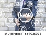 Small photo of Lead Generation Analysis Business Marketing Strategy Financial Concept. Man presses lead generation button on virtual touch screen.