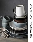 stack of various crockery and... | Shutterstock . vector #669042562