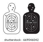 men paper targets with bullet... | Shutterstock .eps vector #669046042