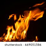 fire flames with sparks on... | Shutterstock . vector #669051586