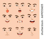 different facial expressions of ... | Shutterstock .eps vector #669053605