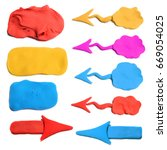 Plasticine arrow icons set....