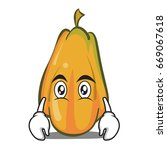 flat face papaya cartoon... | Shutterstock .eps vector #669067618