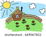 house fence flowers lawn sun... | Shutterstock .eps vector #669067822