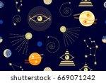 dark zodiac sky. abstract... | Shutterstock .eps vector #669071242