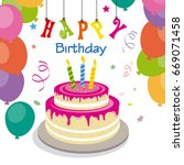 happy birthday invitation with... | Shutterstock .eps vector #669071458