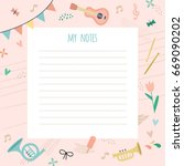 template for notes with a cute... | Shutterstock .eps vector #669090202