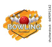 bowling poster with orange... | Shutterstock .eps vector #669091162