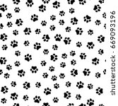 paw print seamless. traces of... | Shutterstock .eps vector #669093196