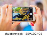 girl taking a photo of an orca... | Shutterstock . vector #669102406
