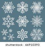 twelve elegant snowflake vectors | Shutterstock .eps vector #66910393