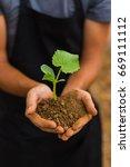 human hands holding green small ... | Shutterstock . vector #669111112