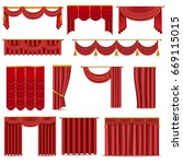 theather scene red blind... | Shutterstock .eps vector #669115015