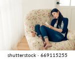 depression young girl having... | Shutterstock . vector #669115255