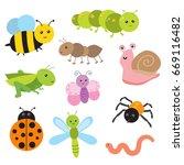 cute bugs vector | Shutterstock .eps vector #669116482