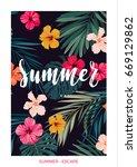tropical vector postcard design ... | Shutterstock .eps vector #669129862