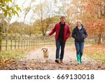 Stock photo mature couple on autumn walk with labrador 669130018