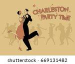 elegant couple wearing 20's...   Shutterstock .eps vector #669131482