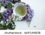 green tea with a bouquet of... | Shutterstock . vector #669144838