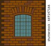 Old Window. Cartoon...