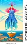 queen of cups  tarot card.... | Shutterstock .eps vector #669149548