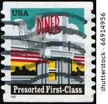 Small photo of USA - CIRCA 1968: A first-class letter presort rate Diner (25-cent) stamp, circa 1968