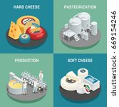 hard and soft cheese production ... | Shutterstock .eps vector #669154246