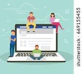 social network facebook web... | Shutterstock .eps vector #669155455