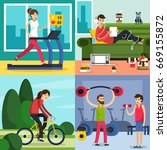 four square colored fitness...   Shutterstock .eps vector #669155872