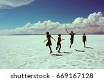 young woman on the surface of...   Shutterstock . vector #669167128